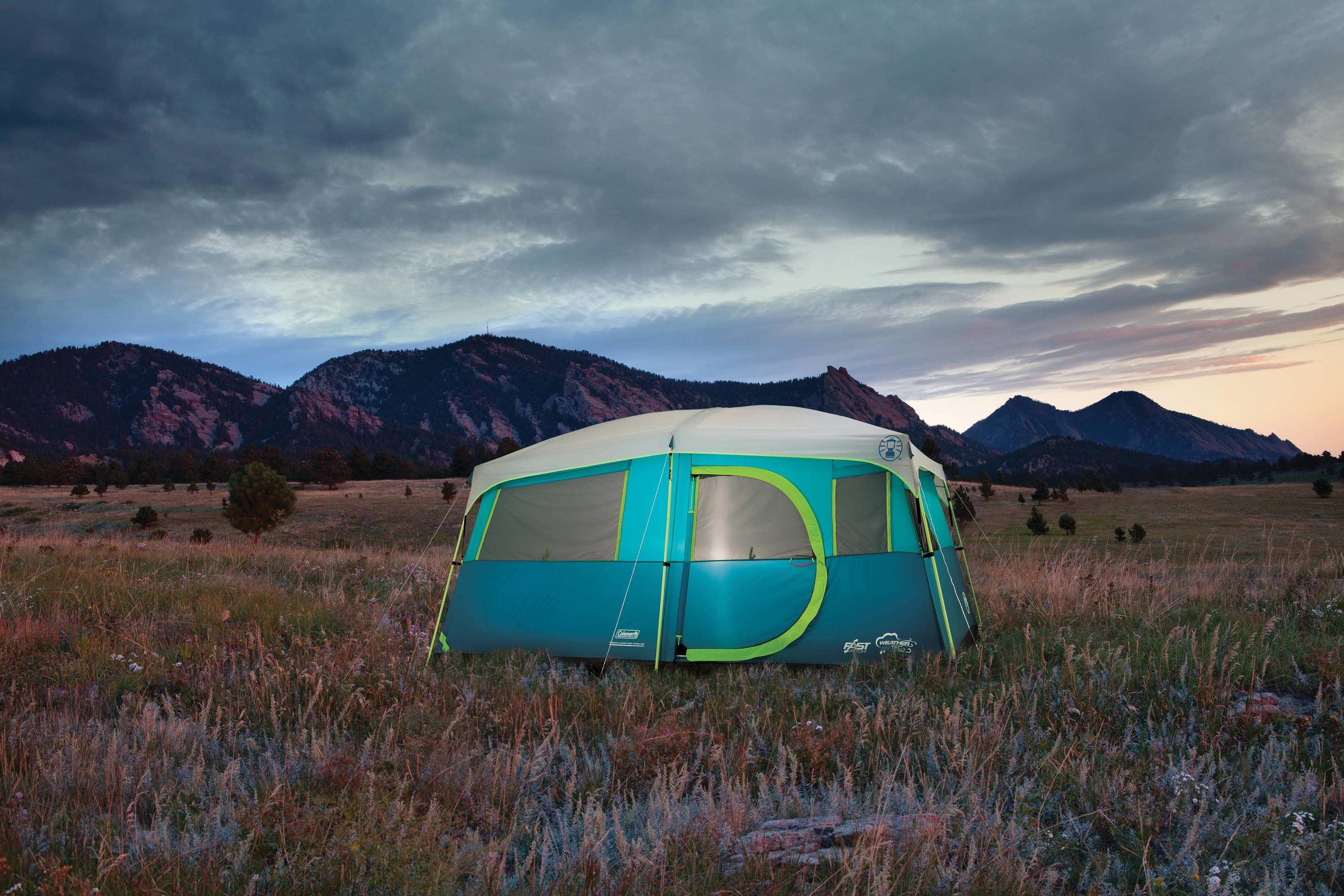 The teal and lime green tent