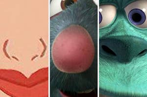 Mulan's nose, Remy's nose, and Sulley's nose closeup