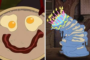 Mushu's breakfast from Mulan and a melting blue cake from Sleeping Beauty