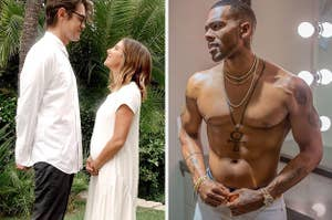 Ashley Tisdale and Christopher French gazing into each other's eyes, Mario shirtless