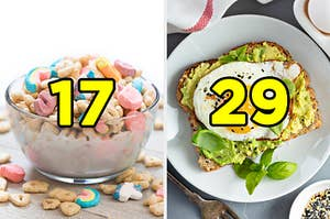 "On the left, a bowl of sugary kid's cereal with marshmallows labeled ""17,"" and on the right, a piece of avocado toast with a fried egg on top labeled ""29"""
