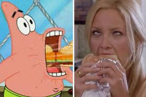 Patrick eating Krabby Patties on the left and Kate Hudson enjoying a burger on the right.