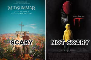 """(left) Midsommar poster with text """"scary""""; (right) It poster with text """"not scary"""""""