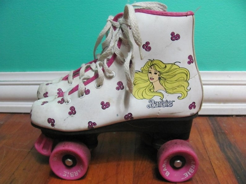 A pair of '80s Barbie lace-up rollerskates