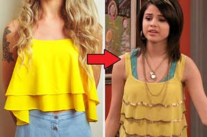 "A flowy top next to Alex Russo from ""Wizards of Waverly Place"" with a similar top"