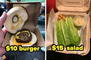 A tiny burger costing $10 and a sad salad for $15