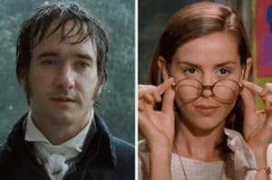 Mr. Darcy in the rain; Ms. Honey lowering her glasses.