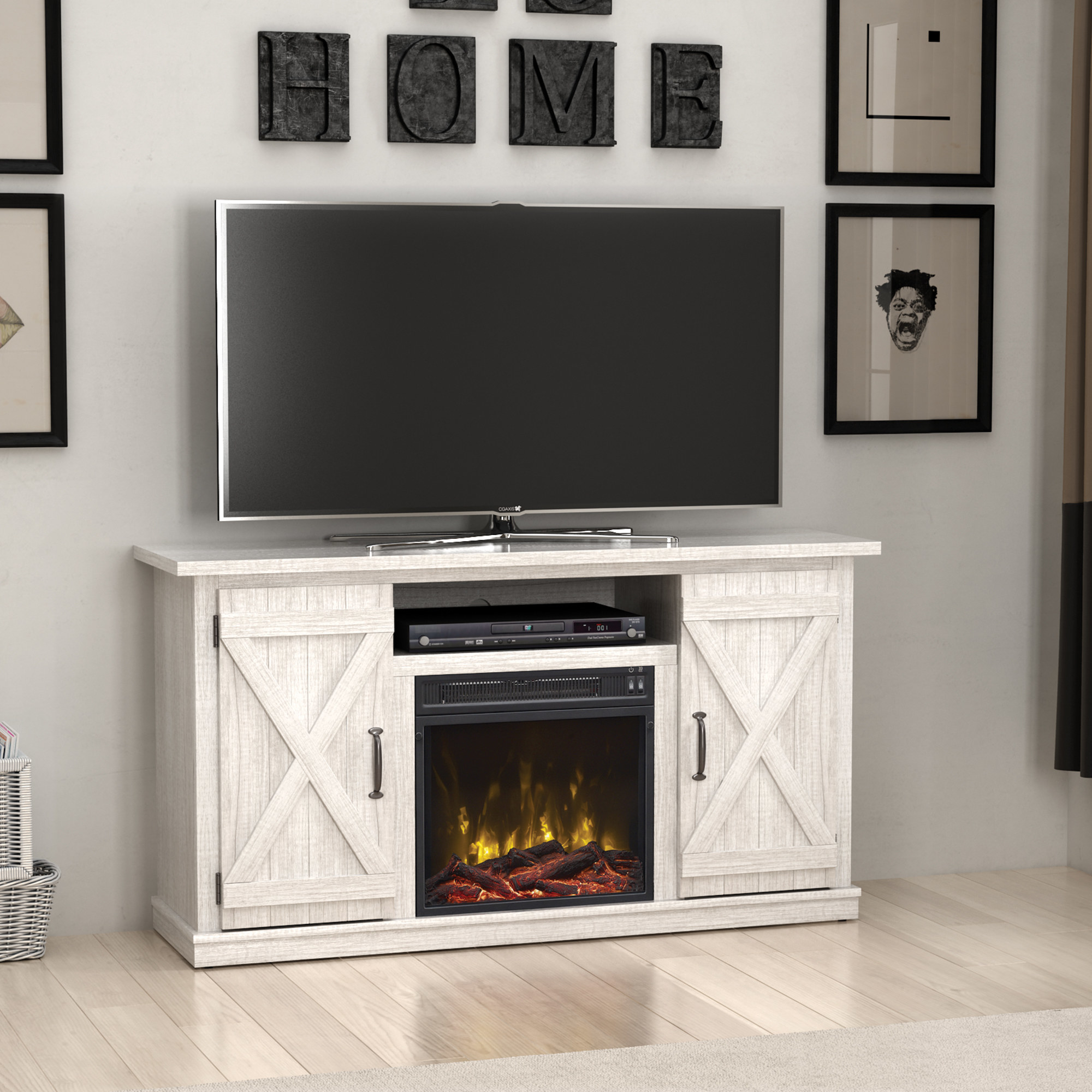 white tv stand with barn doors and electric fireplaces