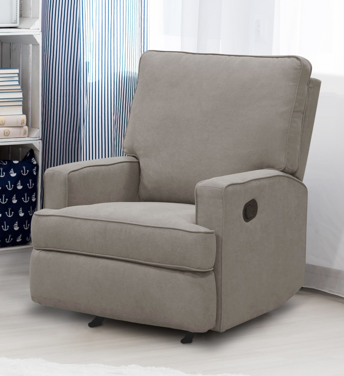 gray rocking recliner chair