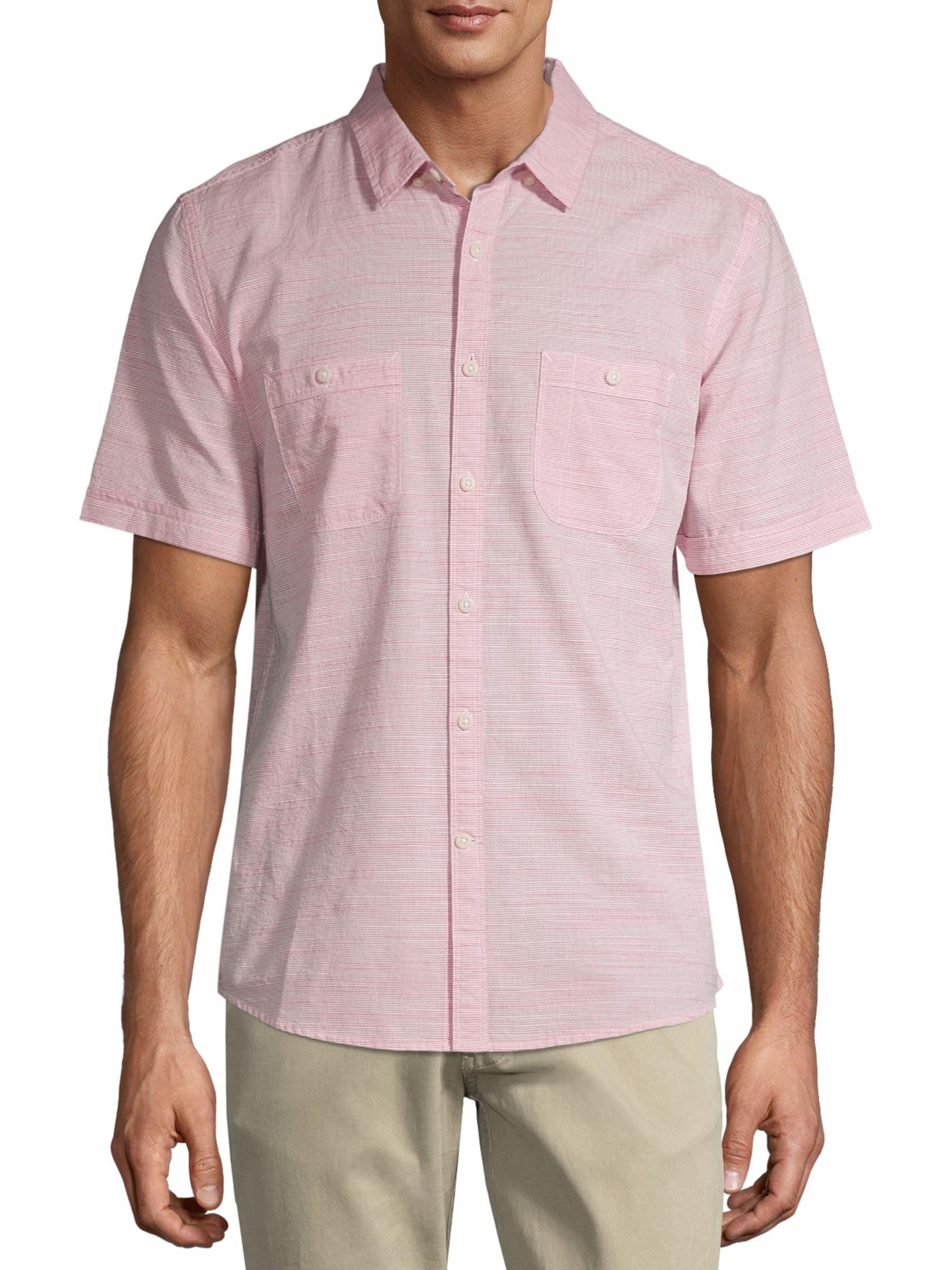 person wearing a pink short sleeve shirt and khaki pants