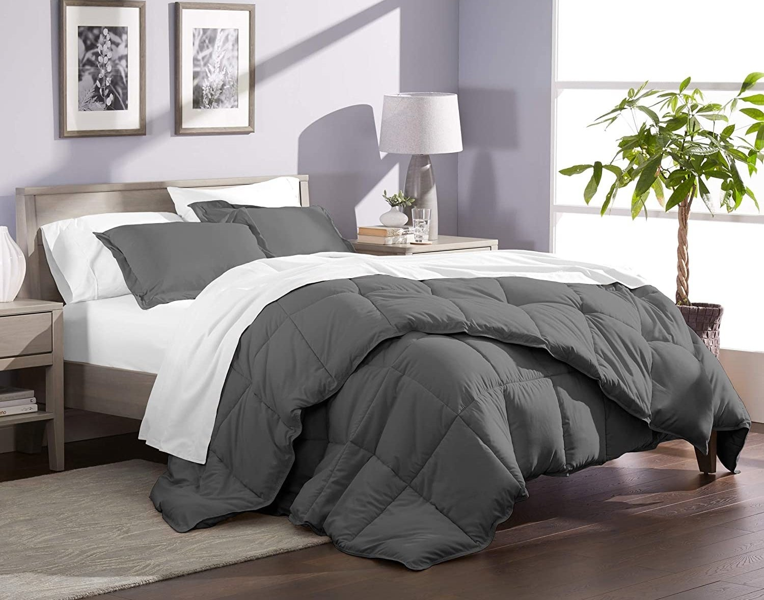 The comforter set on a bed