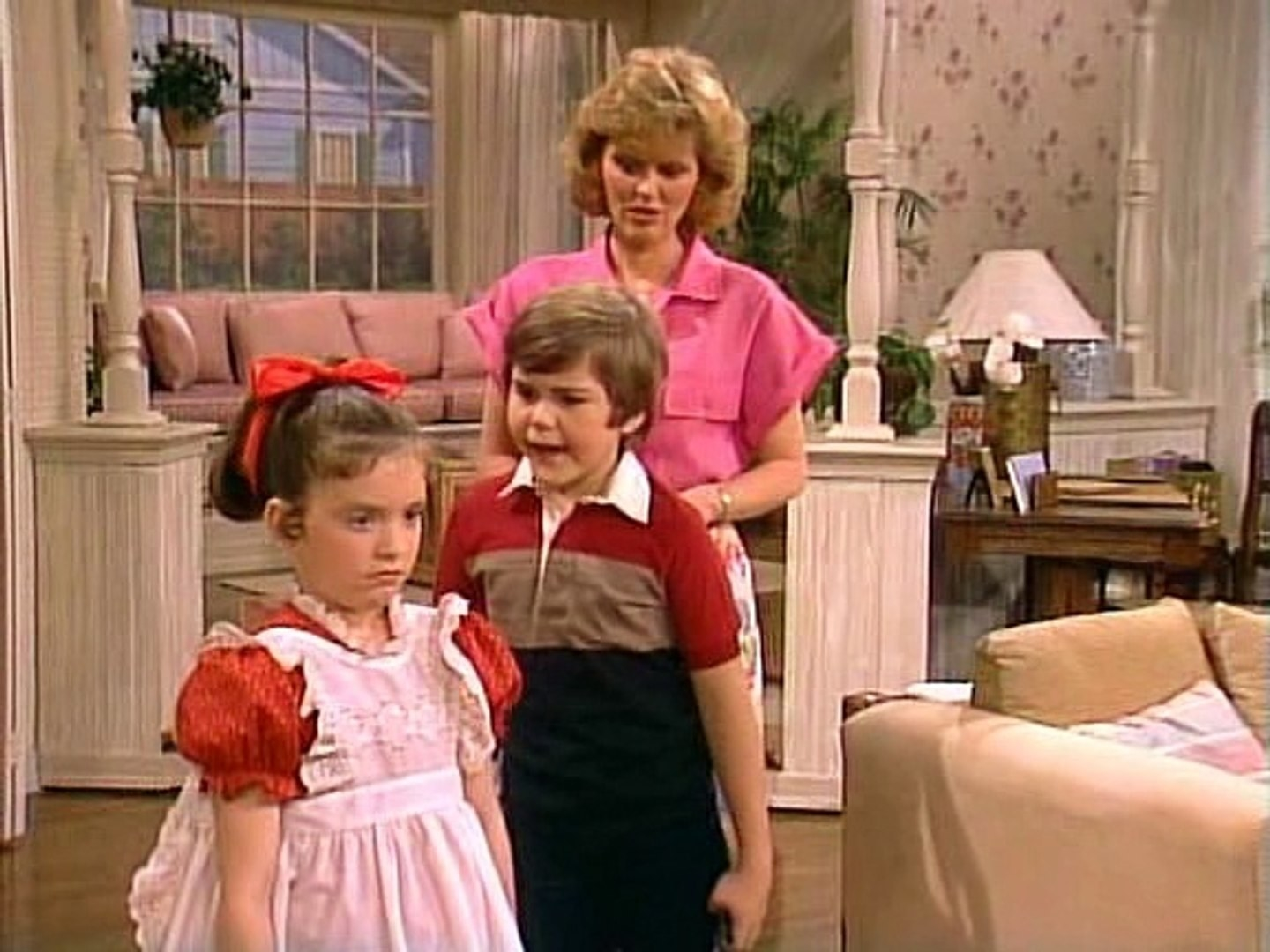 A screenshot of Jamie yelling at Vicki the Robot as Joan looks on