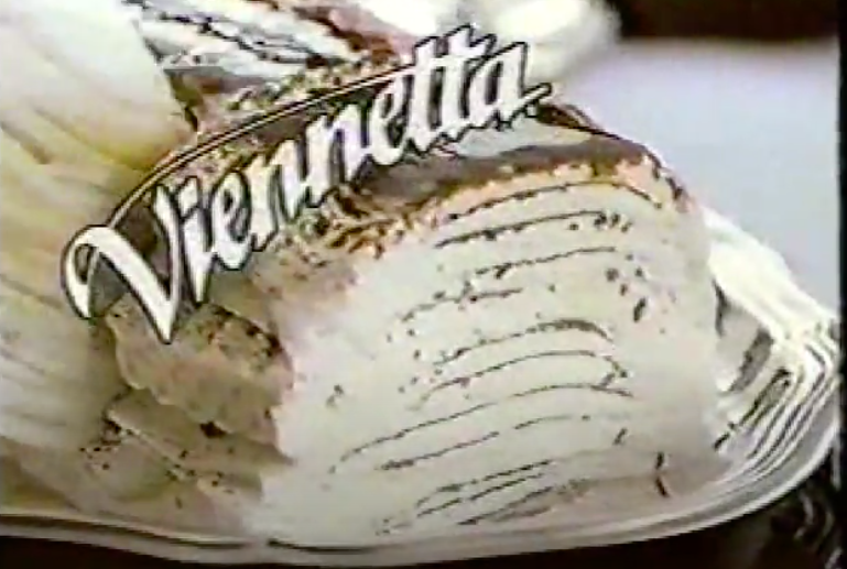 A screenshot of a Breyers Viennetta ice cream cake from the commercial for it