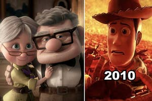 "Side-by-side of Carl and Ellie from ""Up,"" with Woody nearly being incinerated at the end of ""Toy Story 3"""