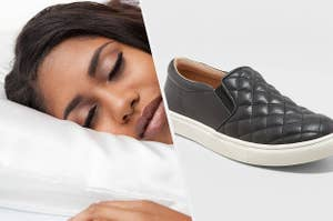 to the left: a model lying on a pillow, to the right: black quilted sneakers