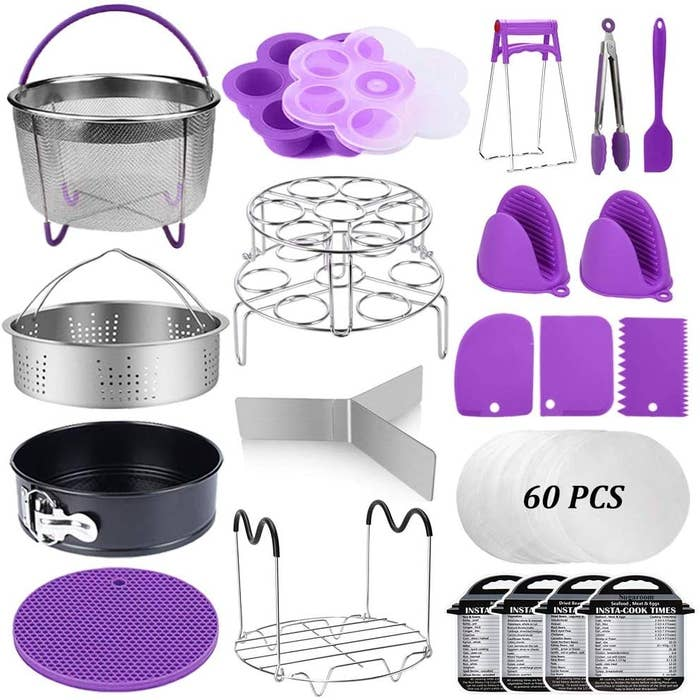 the kit with items made from metal and purple silicone