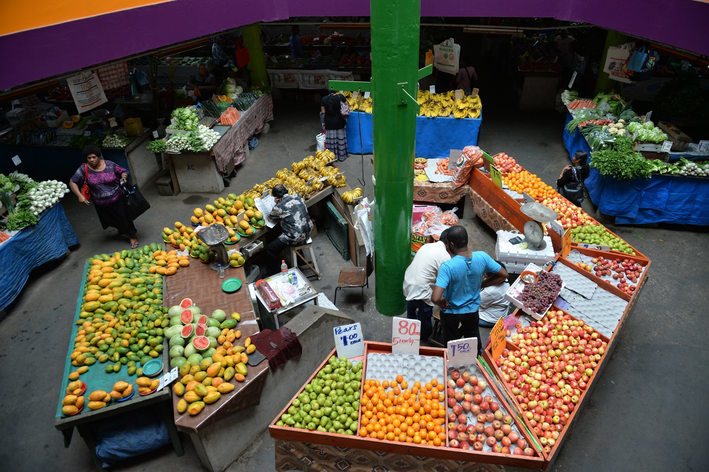 A fruit stall at a market in Suva