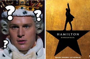 An image of the Hamilton album cover next to an image of King George looking very confused with question marks around his head