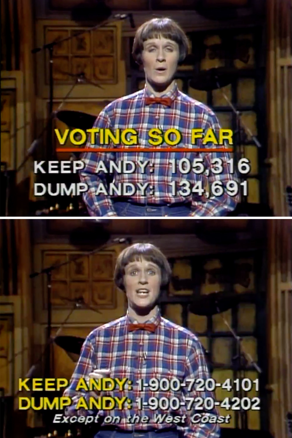 "The phone numbers and voting totals for keep vs dump Andy, in which ""dump"" is winning"