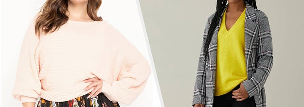 to the left: a model in a pink sweater, to the right: a model in a plaid coat