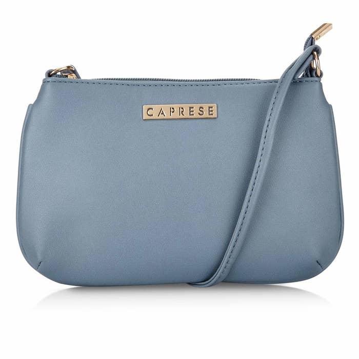 A powder blue sling bag.