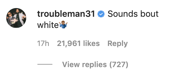 """Comment saying, """"Sounds about white."""""""