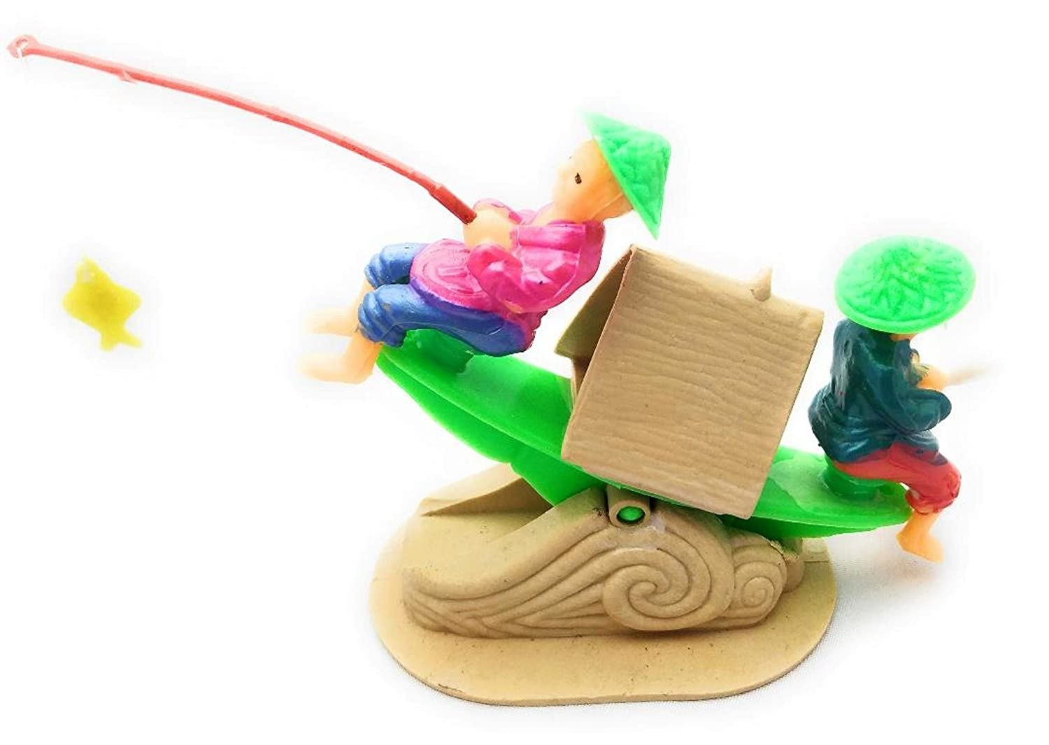 Sea saw ornament in the design of a boat, with two people sitting on either side and facing outwards - one of them holding a fishing rod.