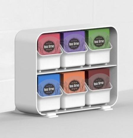 White tea bag organizer