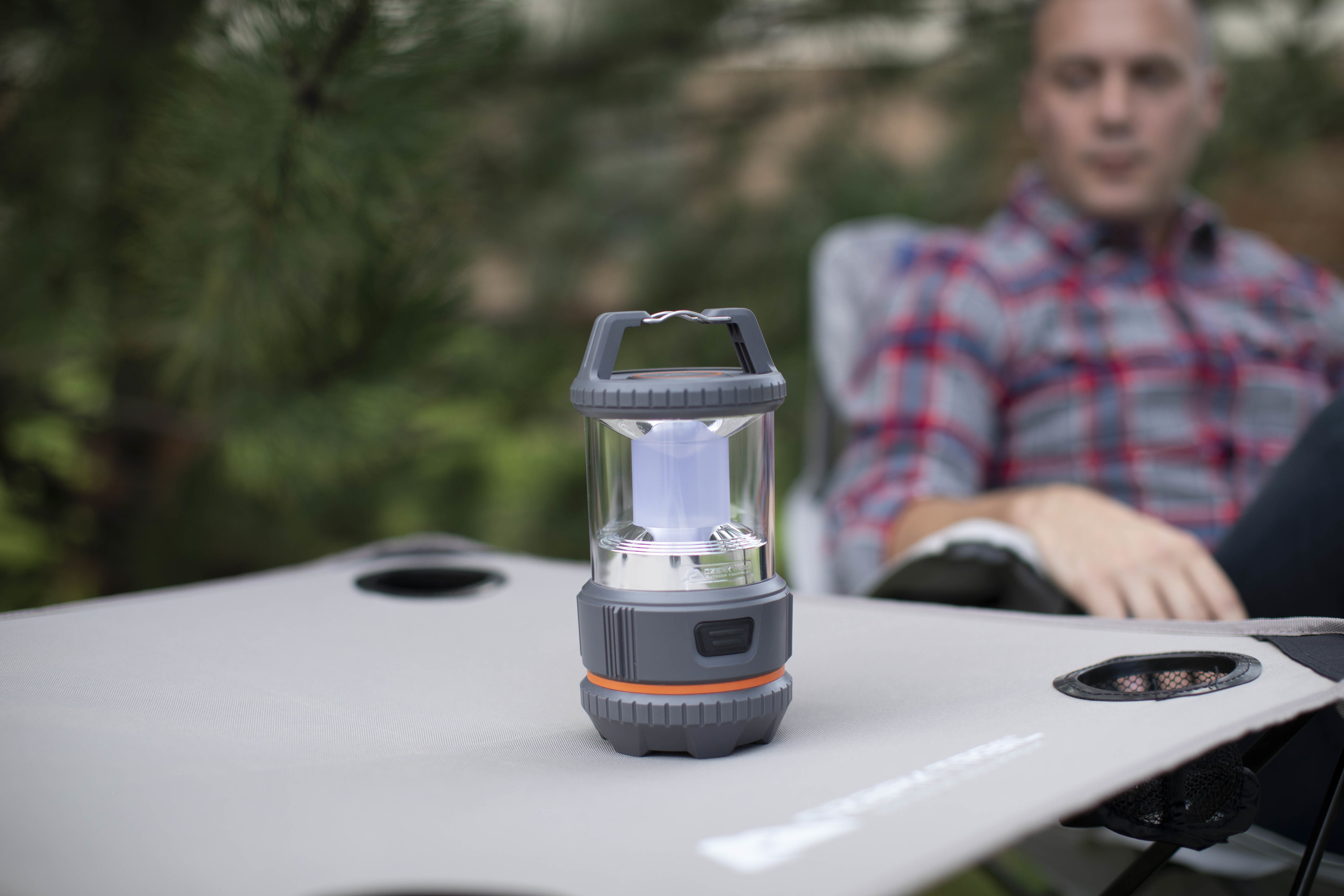 Gray and orange camping lantern