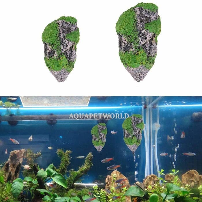 Floating rocks depicted individually in the top half of the image and in a fish tank in the bottom half.