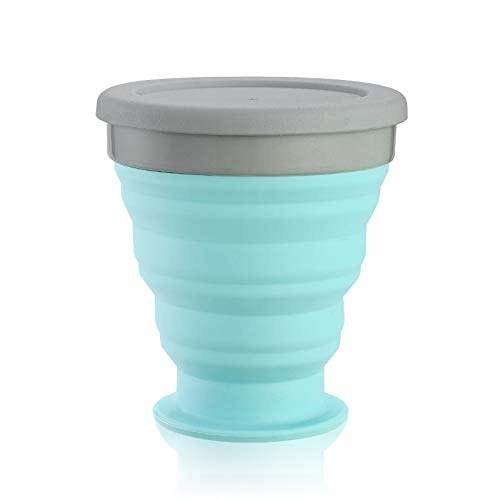 Blue silicone mug with grey lid.