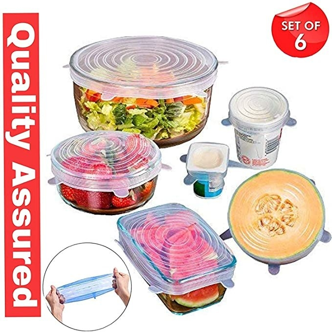 Silicone lids covering various shapes of containers and fruits like watermelons, a packet of yoghurt, and a cup