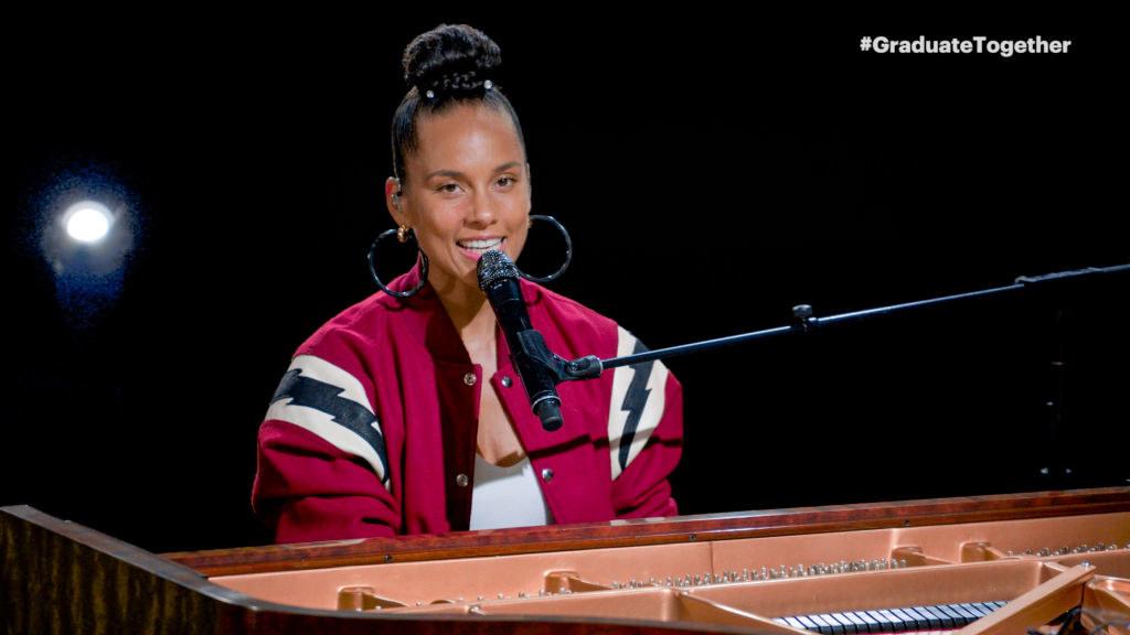 Alicia Keys playing the piano