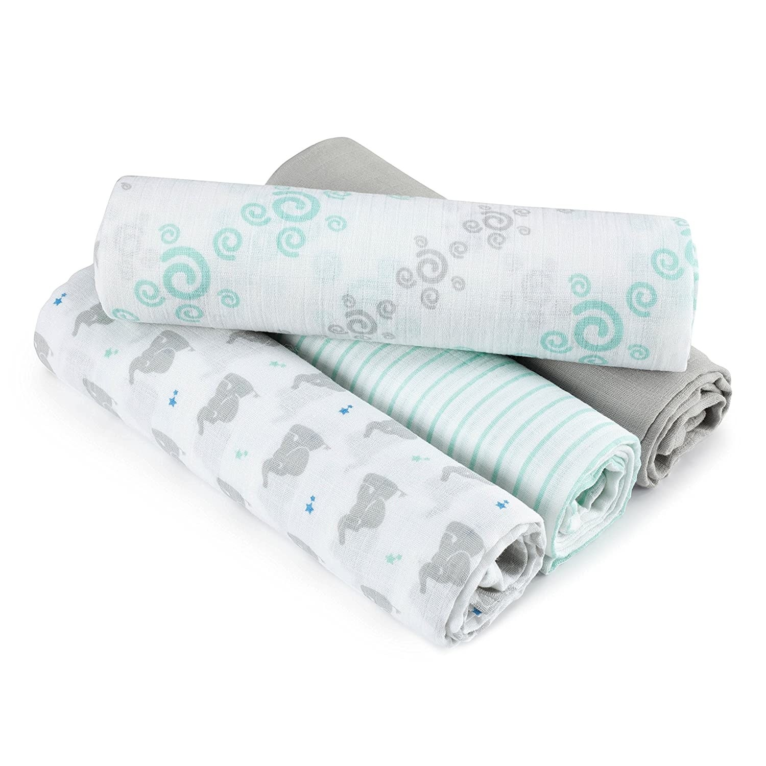 A four-pack of swaddle blankets.