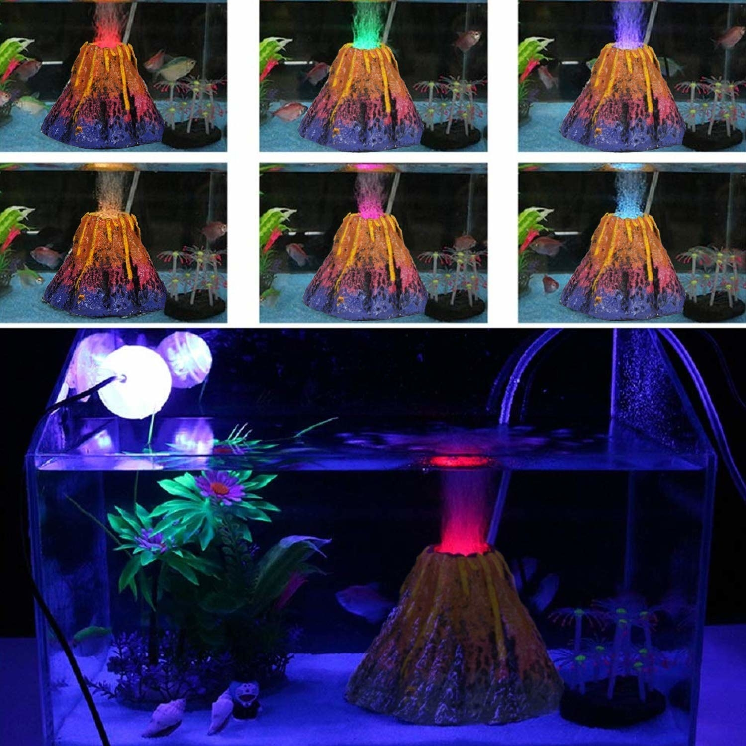 Volcano lamp placed inside a fish tank, with smaller images on the top showing the various colours of the LED lights.