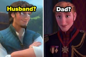 """Flynn Rider is on the left labeled """"Husband?"""" with Elsa's dad on the right labeled, """"Dad?"""""""
