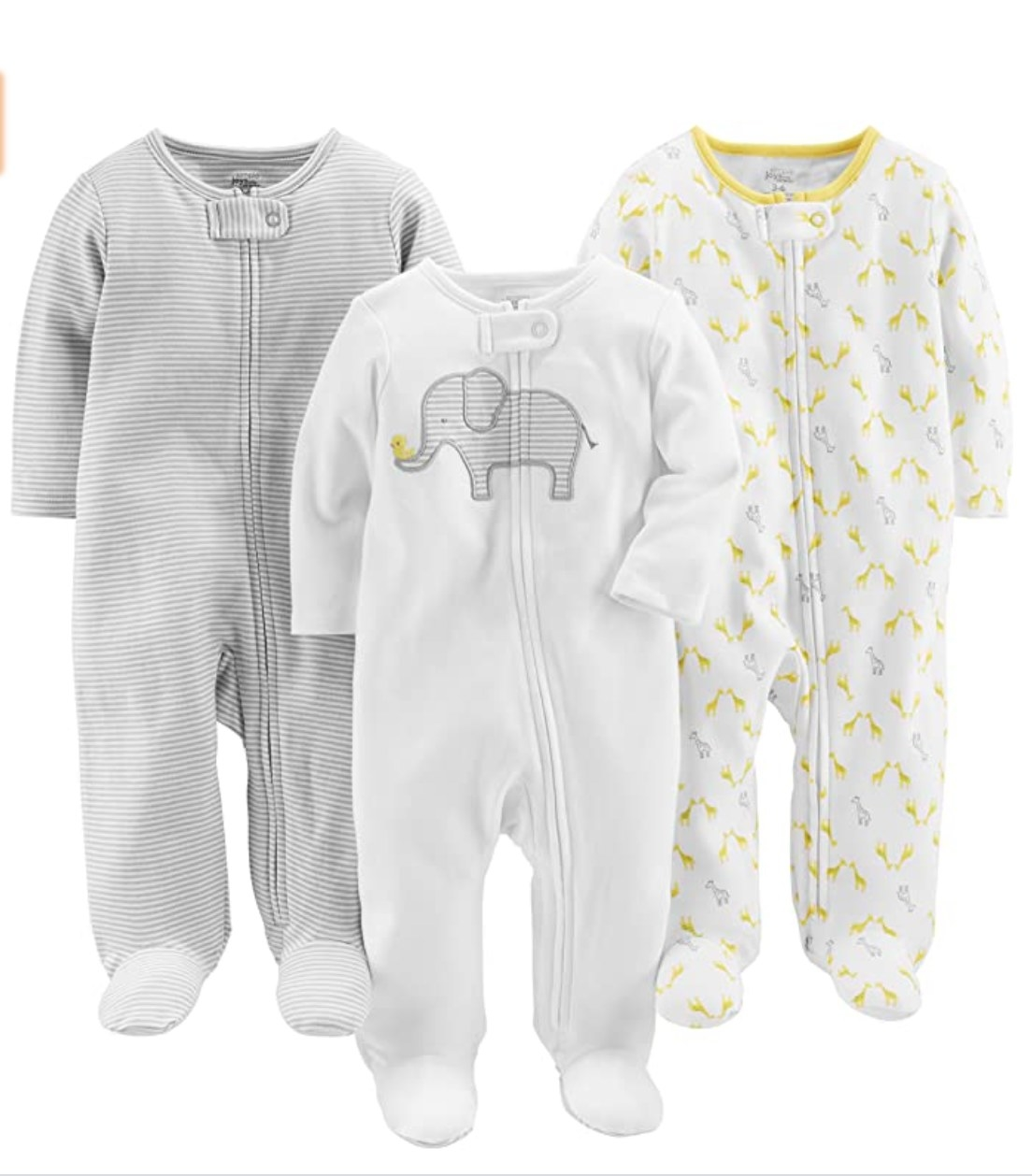 Three gender neutral baby onesies with zippers