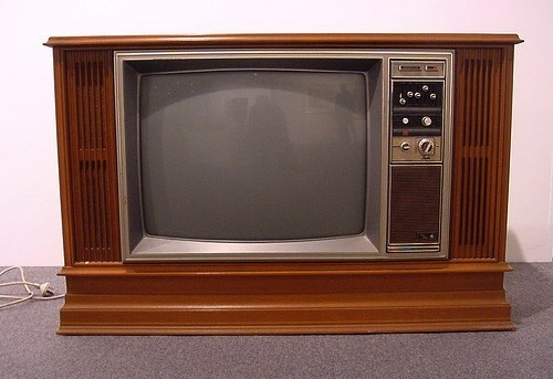 An old '70s TV would wood surround