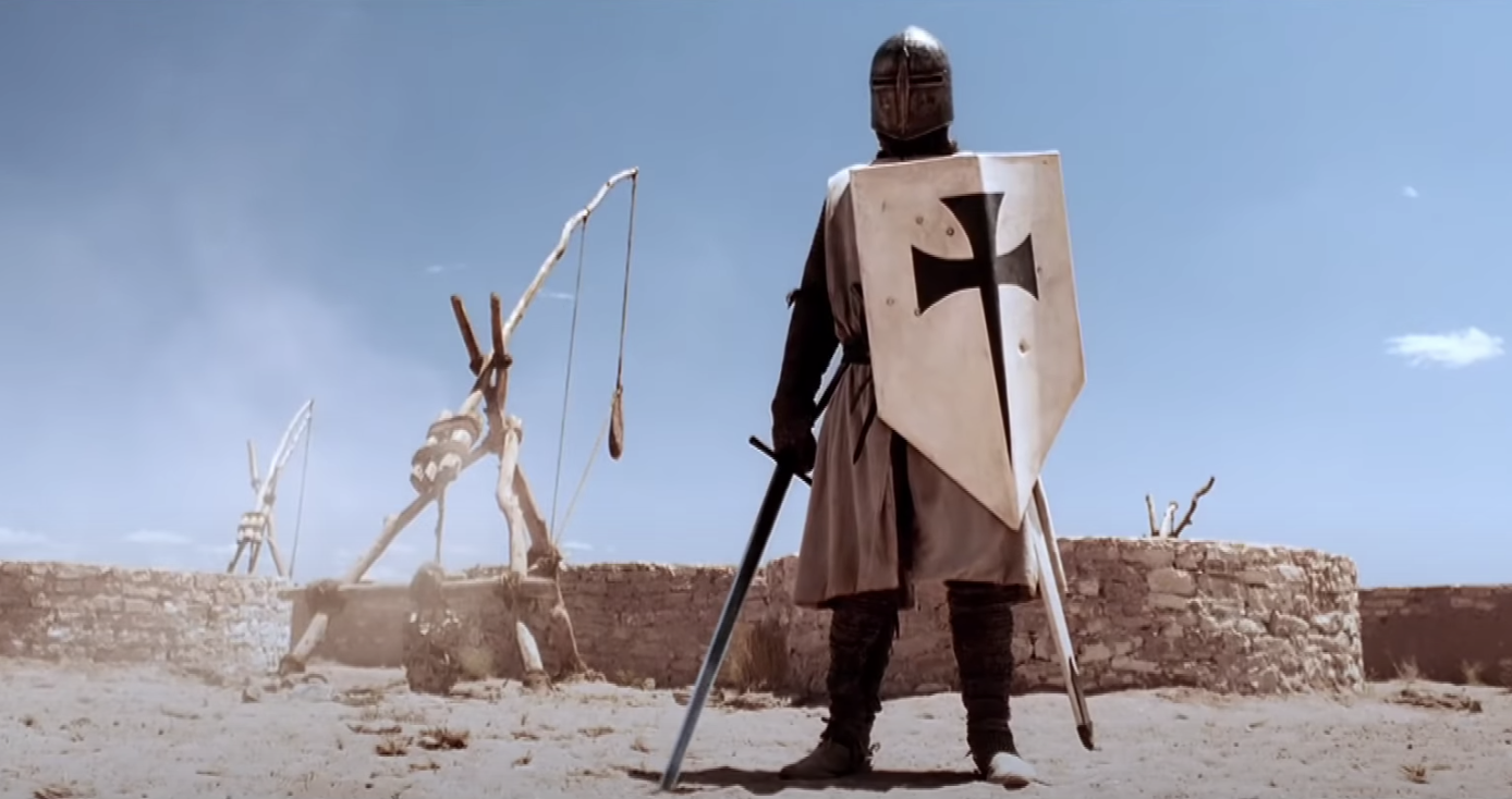 A crusading knight stands prepared for battle