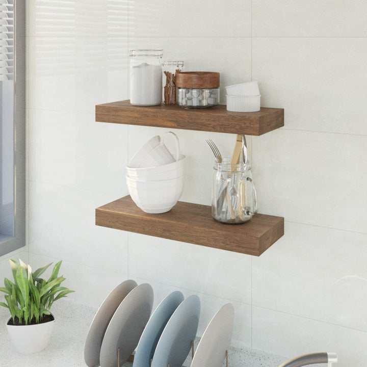 two shelves in the kitchen