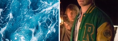 An image of ocean waves next to an image of Chris Hemsworth as Curt from The Cabin in the Woods