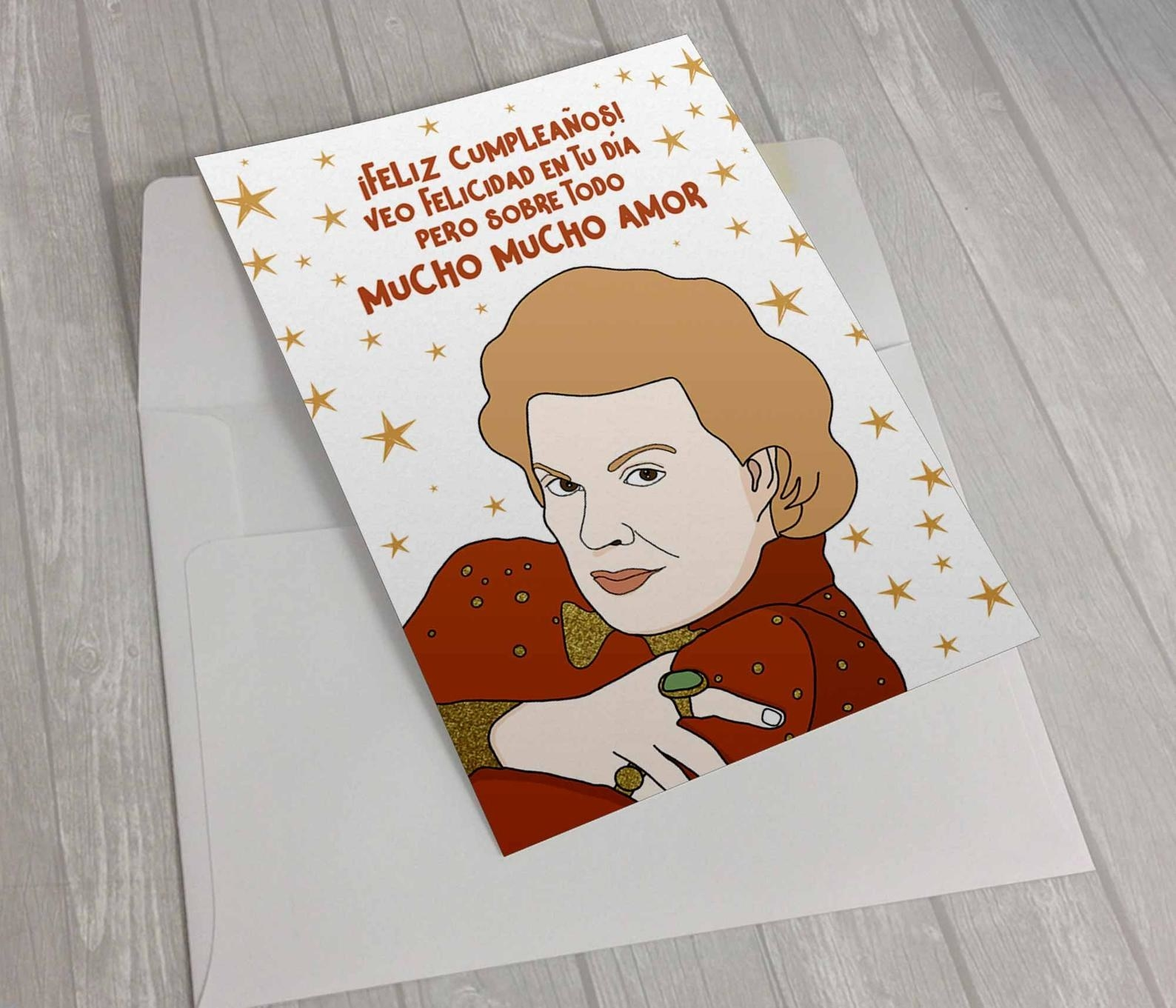 """A greeting card with an illustrated of Walter Mercado wishing a Happy Birthday and """"Mucho mucho amor"""""""