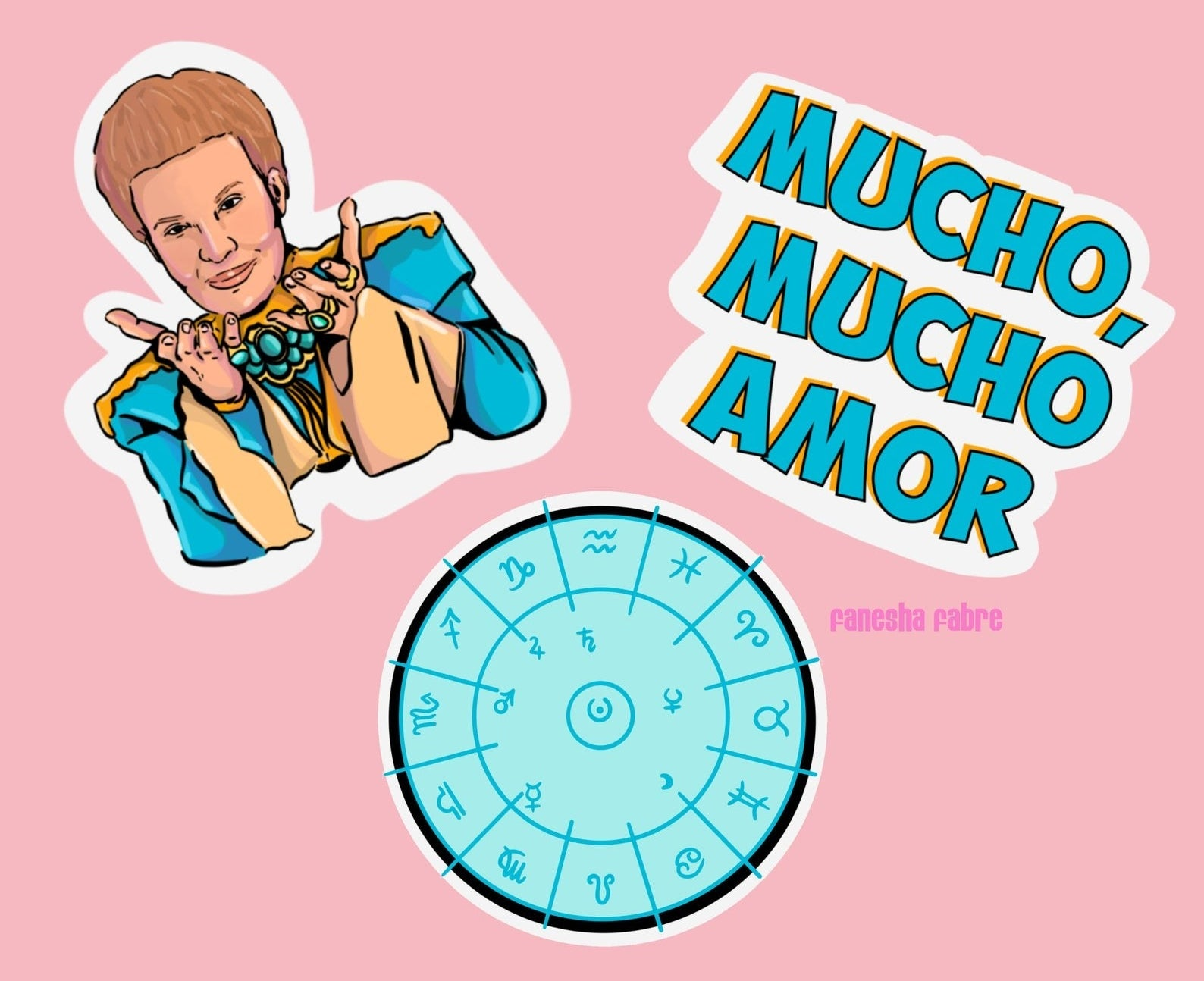 """Three illustrated stickers of Walter Mercado, """"Mucho, Mucho Amor,"""" and the zodiac symbol"""