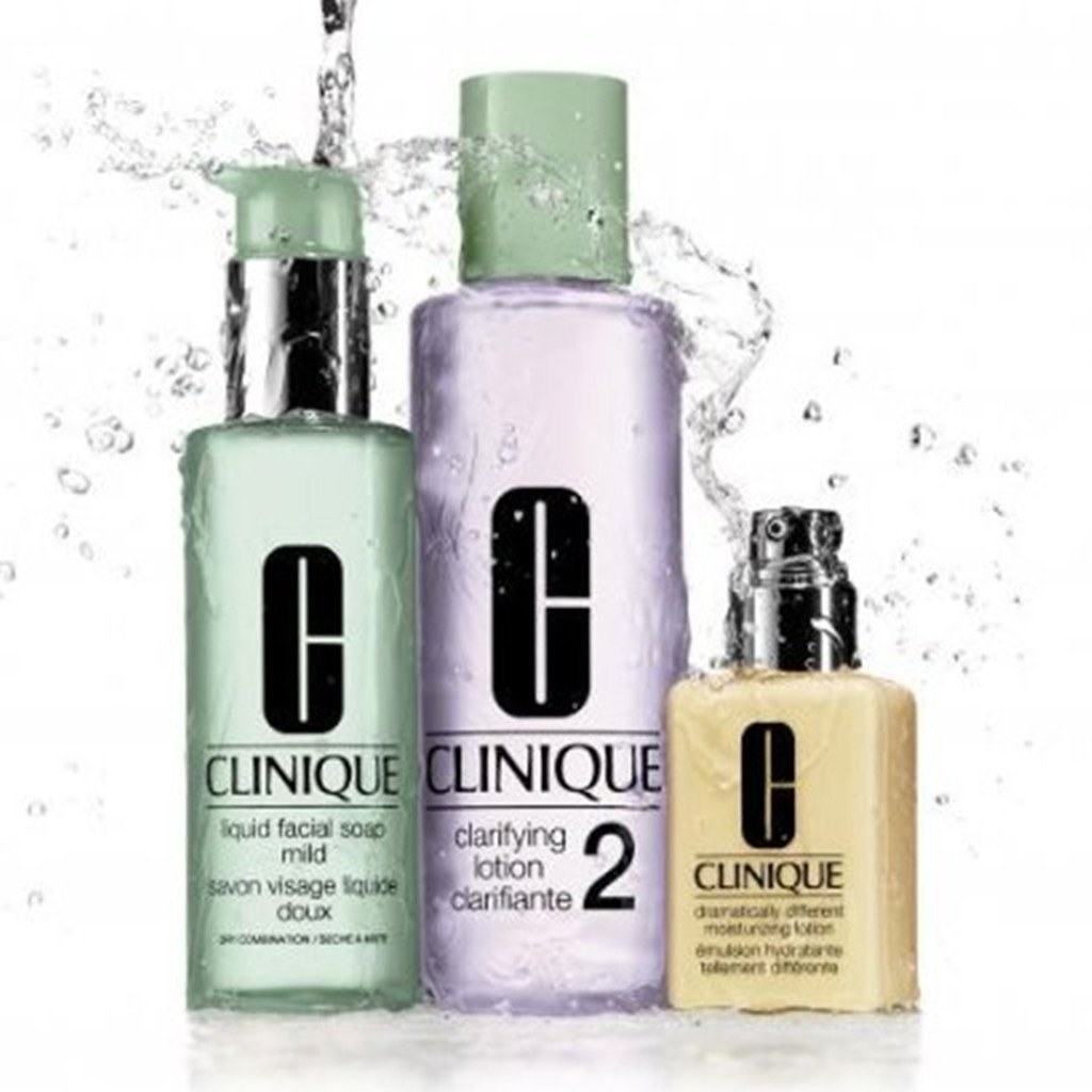 Product photo showing Clinique three-step set with facial soap and two moisturizers