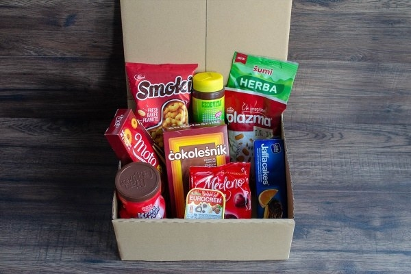The Balkan Box filled with an assortment of snacks from the Balkan region