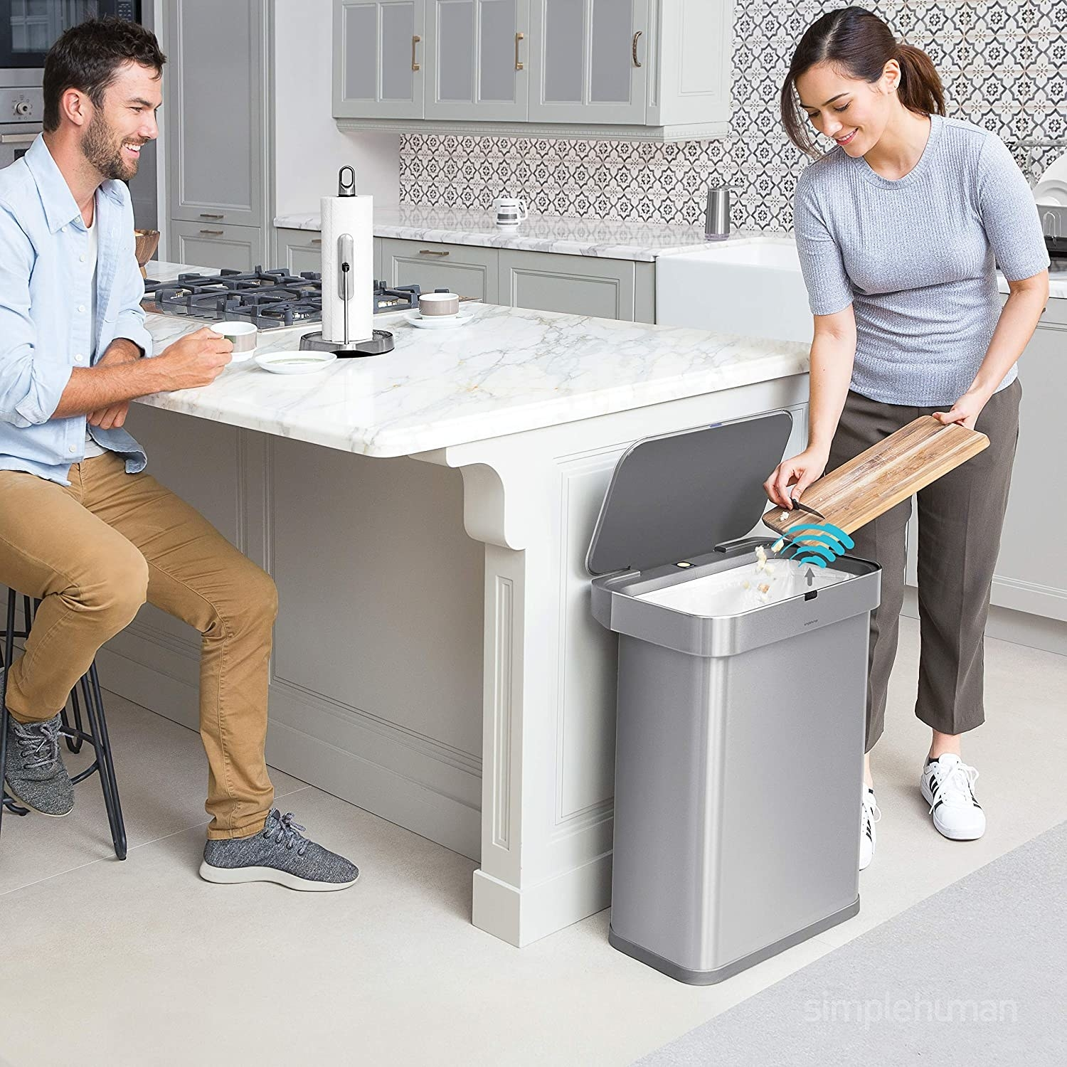 Simplehuman voice-activated garbage can