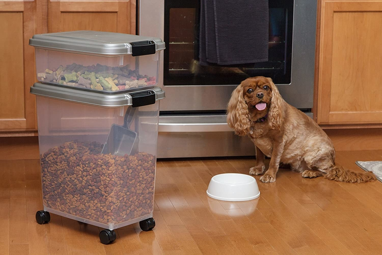 A large plastic container with wheels is full of dog food and a smaller container is stacked on top