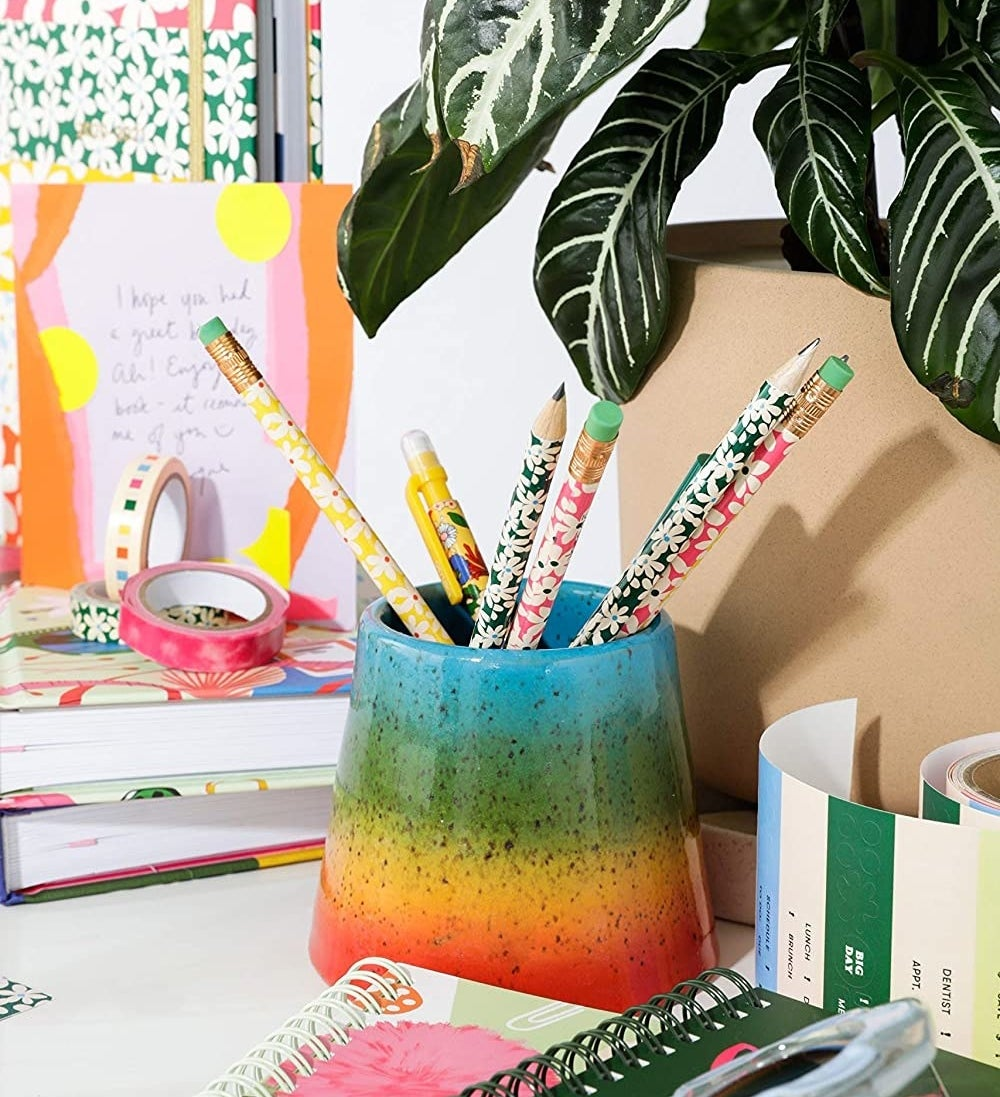 several floral pencils in a pencil holder