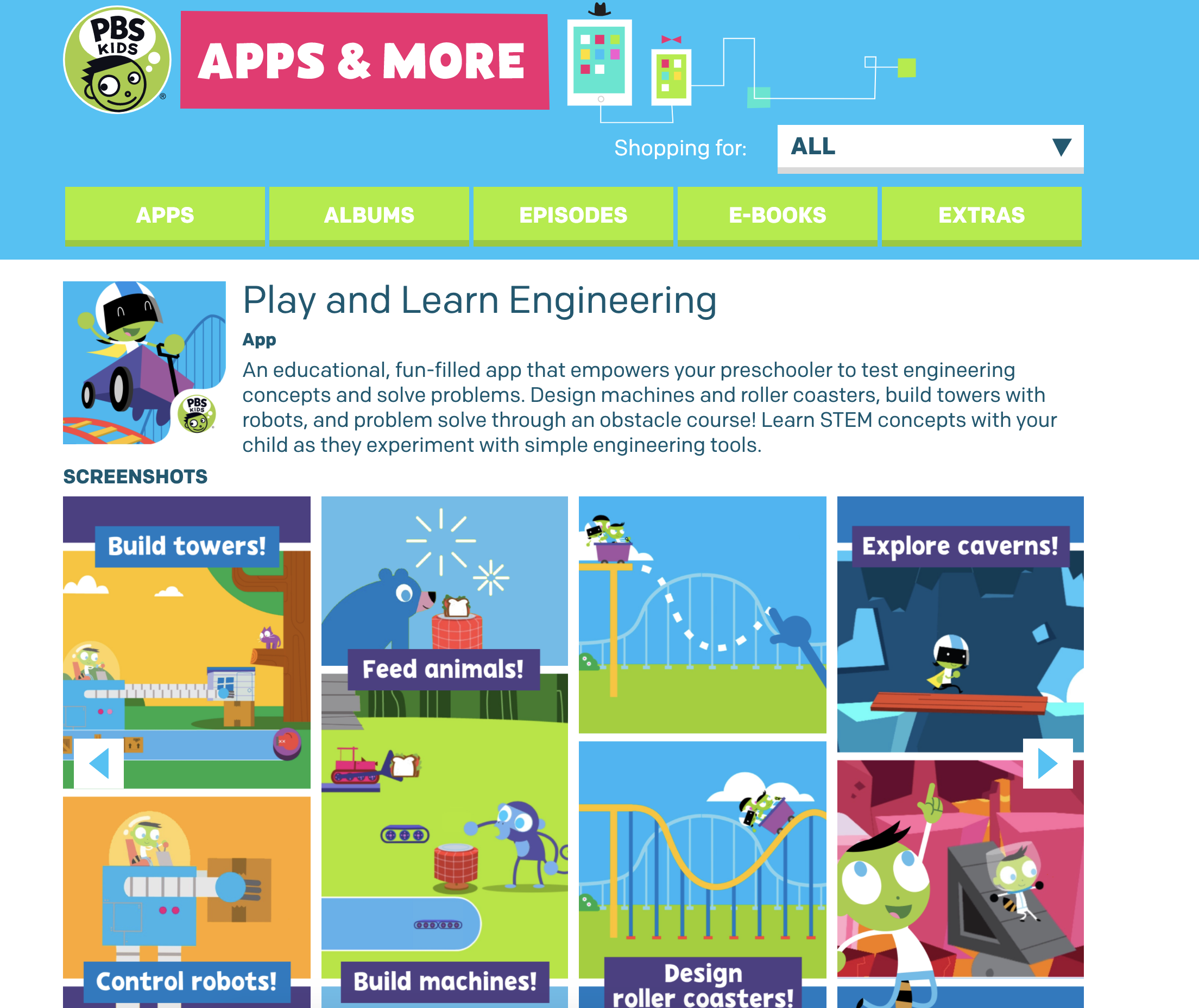 A screenshot of learning apps available on PBS Kids.