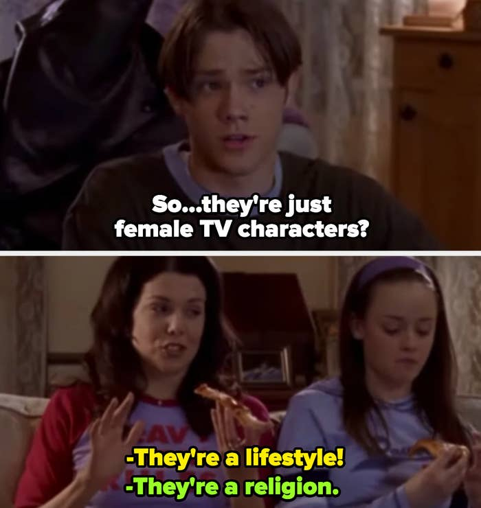 "Dean, Lorelai, and Rory from ""Gilmore Girls"" watching TV"